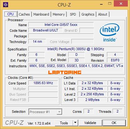 Intel Pentium 3805U CPU-Z