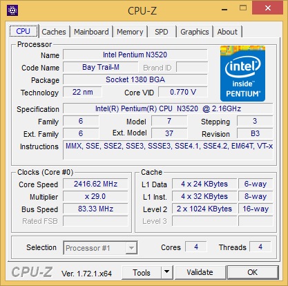 Intel Pentium N3520 CPUZ - N3530 N3540 Are Similar