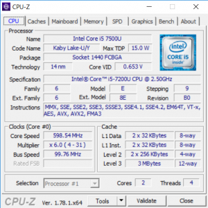Intel Core i5-7200U 7th Gen Specifications CPU-Z