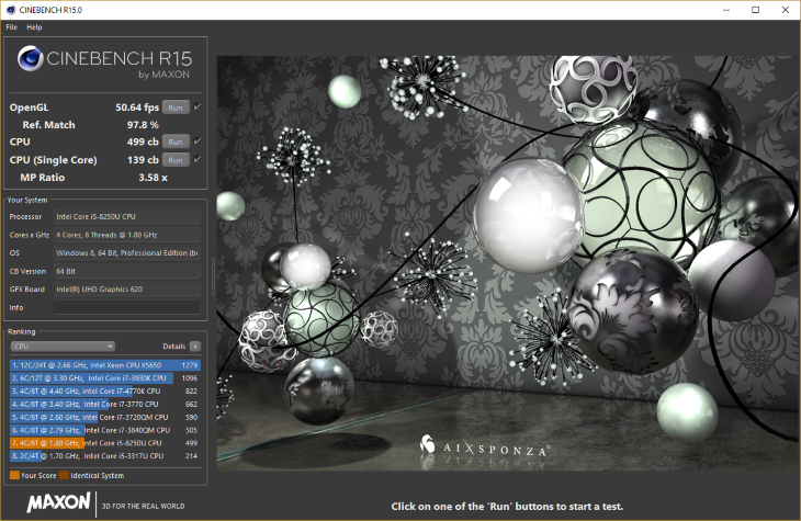 Intel Core i5-8250U Cinebench R15 Benchmark