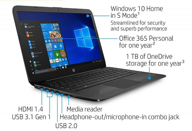 HP Stream 14-cb159nr 14-inch Laptop, Intel Celeron N4000, 4 GB RAM, 64 GB eMMC, Windows 10 Home in S Mode Jet Black 2