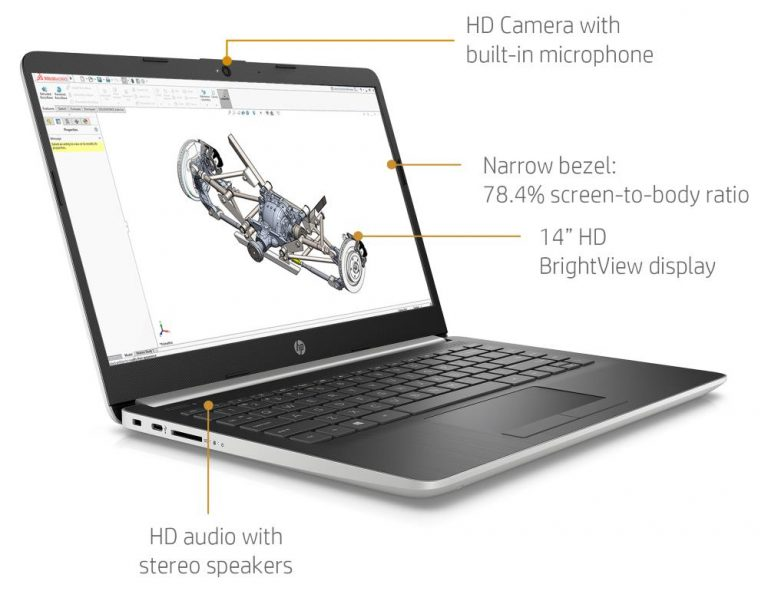 HP 14 Laptop 14-dk0028wm, AMD Ryzen 3 3200U, AMD Radeon Vega 3 Graphics, 4GB SDRAM, 128GB SSD, Whisper Silver 2