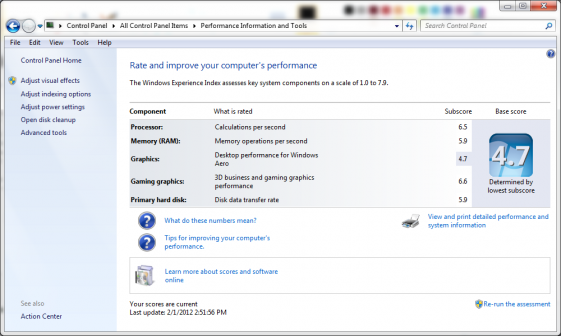 Dell Inspiron 17R N7110 Core i3 GT525M Windows Experience Index