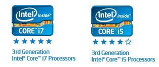 3rd Generation Intel Core i7 and i5 (Ivy Bridge) Logos