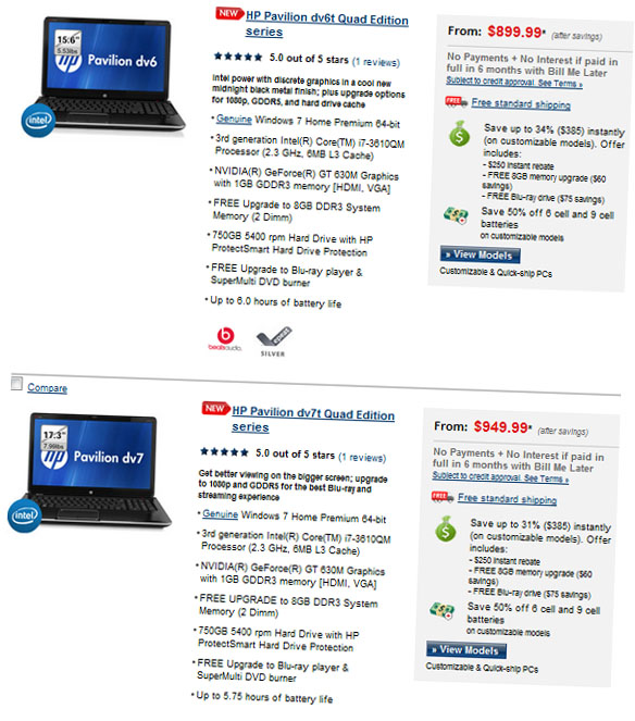 HP Pavilion dv6t and dv7t Quad Edition Order Page
