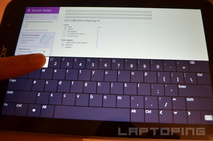 Full Windows 8 virtual keyboard layout with numbers row