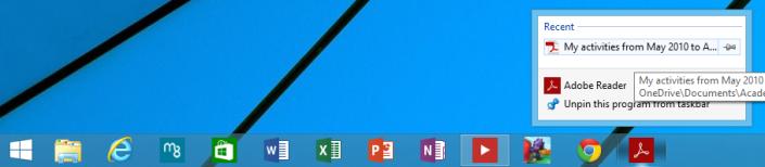 Windows 8.1 Update 1 Spring 2014 - Jumplists