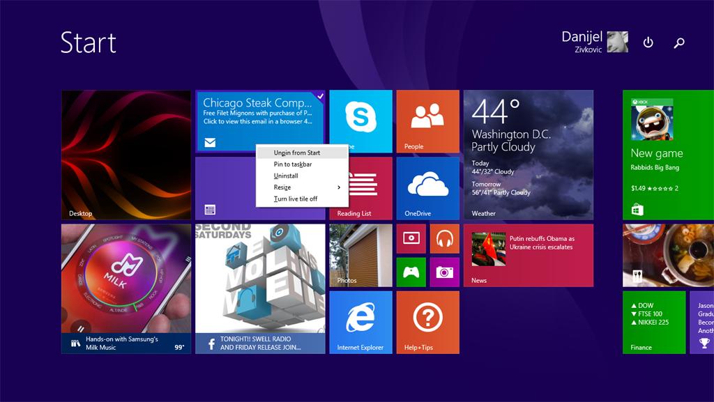 Windows 8.1 Update 1 Spring 2014 - Context Menu in Metro