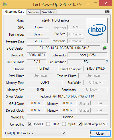 Intel HD Graphics on Celeron N2830 GPU-Z Specs