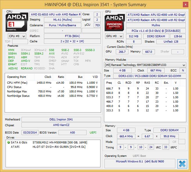 AMD E1-6010 Radeon R2 Specs - HW Info
