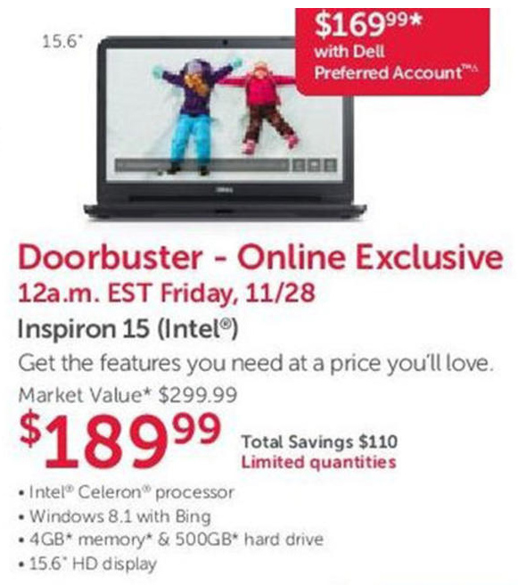 Dell Home Black Friday Ad 2014 - Inspiron 15 Laptop