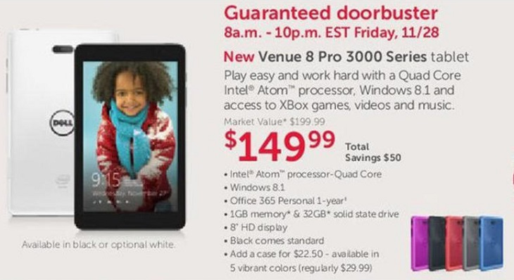 Dell Venue 8 Pro 3000 Series Tablet - Black Friday