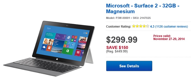 Microsoft Surface 2 Black Friday 2014 Deal 32GB 299