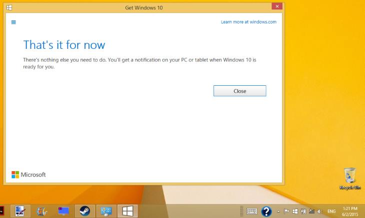 Get Windows 10 Upgrade Free Windows 8.1 7 - Thats It for Now Message