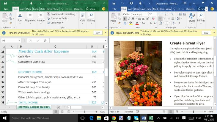 Microsoft Office 2016 Under Windows 10