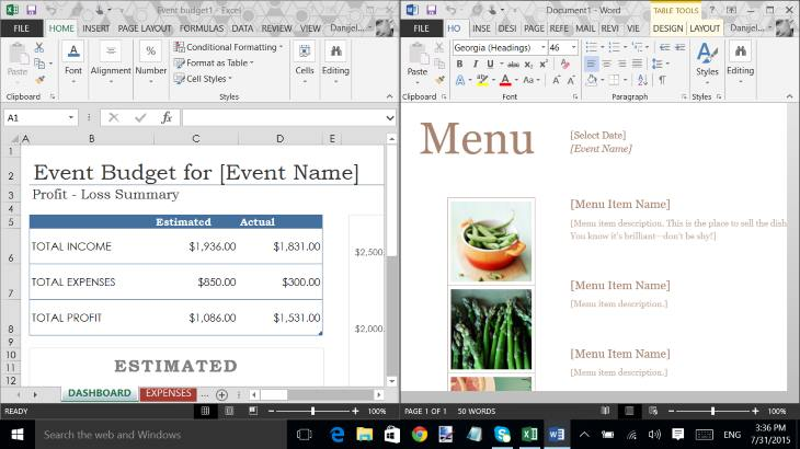 Microsoft Office Home and Student 2013 in Windows 10