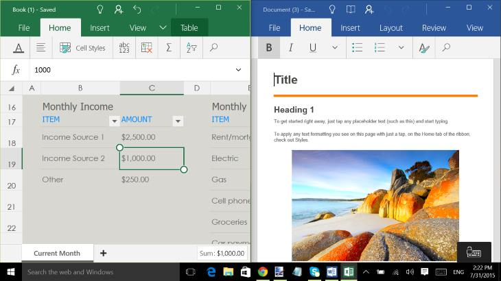 Excel Mobile and Word Mobile Office Apps - Windows 10