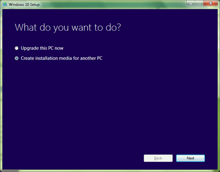 Step 3 Windows 10 Setup in Windows 7 - Create Installation Media