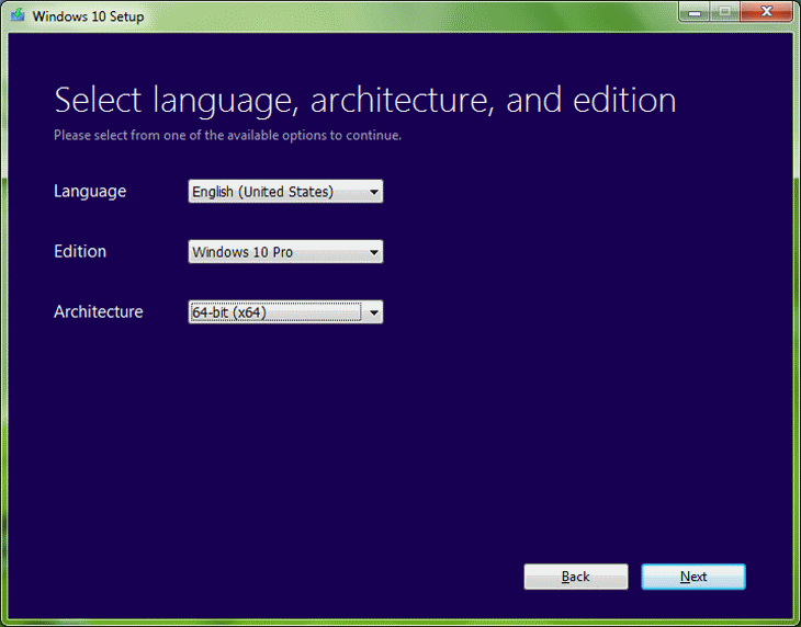 Step 4 Select Language, Architecture, and Edition
