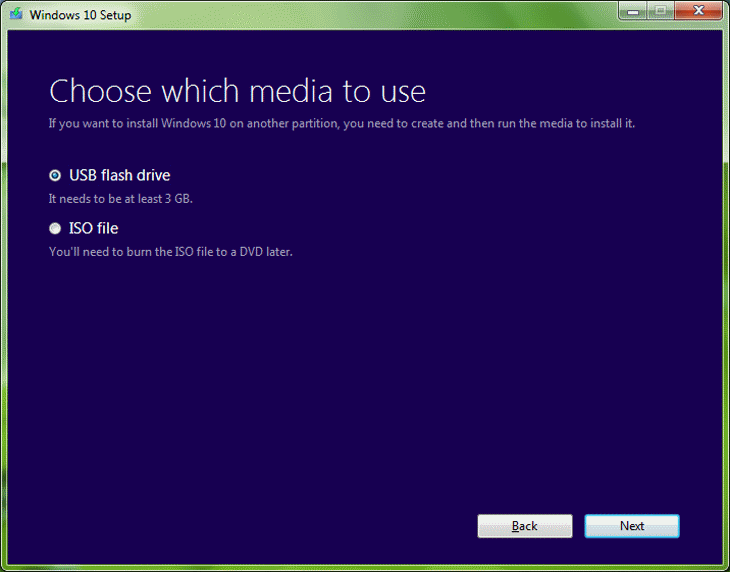 Step 5 Choose USB Flash Drive Media for Windows 10 Installation