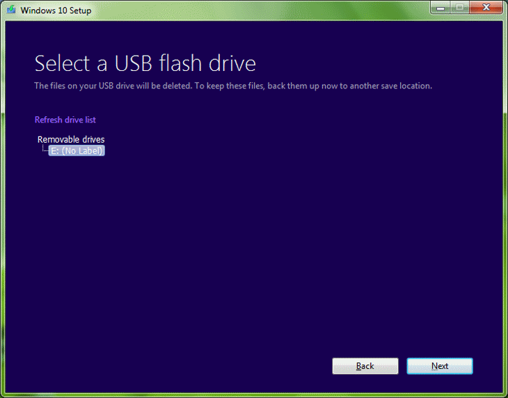 Step 6 Select a USB Flash Drive - Removable Drives