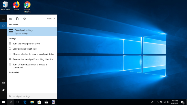 Go to touchpad settings to disable - enable touchpad in Windows 10