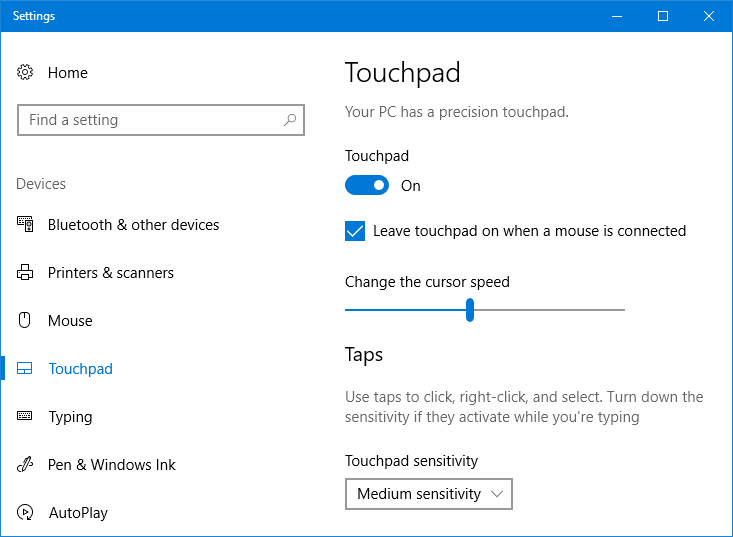 Touchpad on - off in Windows 10