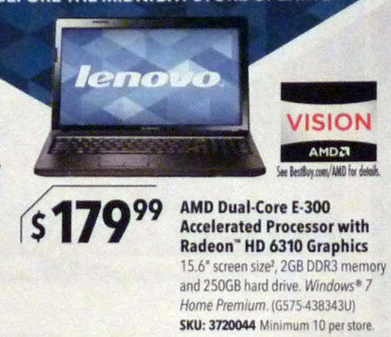 Lenovo G575-438343U Black Friday Ad Scan